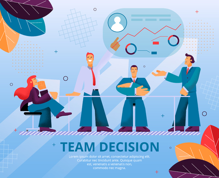 Group People Makes an Important Team Decision. Flat Banner Illustration Man and Woman are Sitting at Desks, Discussing Work on Project. Guy Points Hand on Graph Financial Growth Company. Teamwork