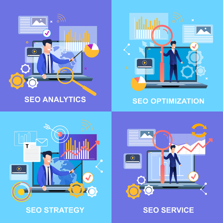 Illustration pour Flat Banner Set Seo Analytics Optimization Strategy Service. Vector Illustration Man Pointing at Chart. With Magnifier Standing on Laptop. In Tie Businessman Raising Up Investments. - image libre de droit