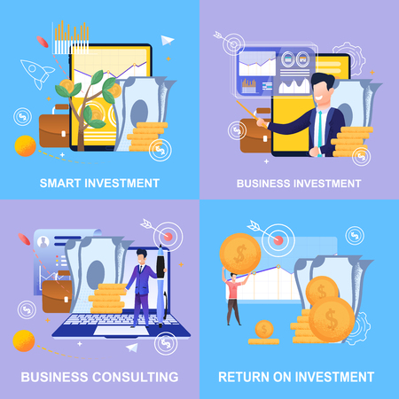 Illustration pour Horizontal Flat Banner Set Smart Investment. Business Investment. Business Consulting. Return on Investment. Vector Illustration Color Background. Assistance in Management and Accounting Enterprise. - image libre de droit