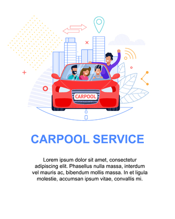 Illustration pour Carpool Service Banner. Red Car with People. Flat Illustration. Man Character Passenger Group in Automobile Travel Together. Line art Cityscape. Trendy Cooperation for Commercial Transport Rent. - image libre de droit