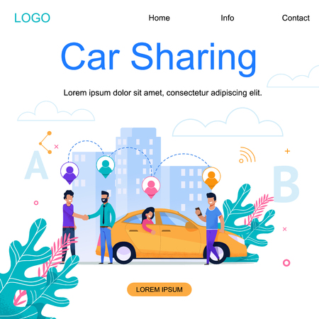 Illustration pour Car Sharing Square Banner. Modern Town Cab Carpool Business. Group of Men near Yellow City Vehicle with Woman Passenger Traveling. Business Building Cityscape Cartoon Illustration. - image libre de droit
