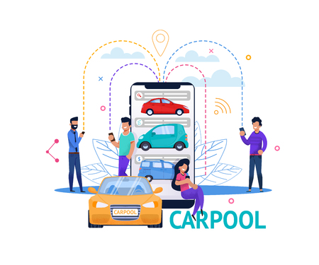 Illustration pour Carpool App Mobile Search. Young Guy and Girl People Character Plan Economy Ride. Smartphone Connect, Car Search and Communication. Cartoon Flat Banner. Carsharing Transport Technology. - image libre de droit