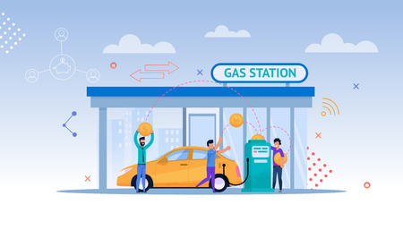 Illustration pour Gas Station Cartoon Illustration. Car Petrolium Refill. Driver Consumer on Street with Cityscape make Payment for Gasoline or Oil. Modern Energy Economy by Fill Up Biofuel or Diesel. - image libre de droit