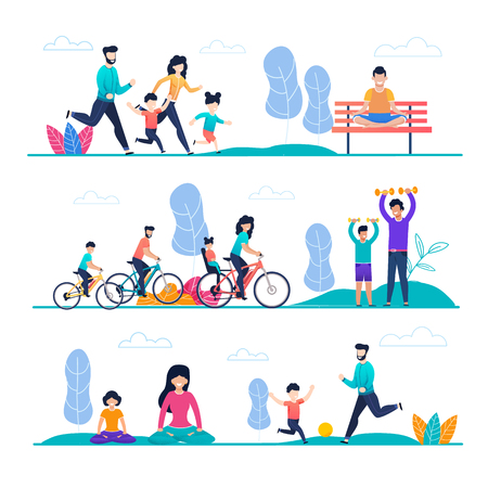Illustration for Family Sport and Outside Activity Flat Cartoon Set. Mother, Father, Son, Daughter Jogging, Cycling, Playing with Ball, Exercising with Dumbbells, Meditating or Doing Yoga Exercise. Vector Illustration - Royalty Free Image