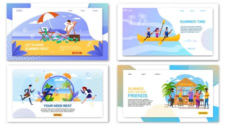 Flat Landing Page Set with Summer Vacation Offers. Rest and Relax on Beach or in Tropical Bar and Extreme Recreation on Boats for People. Booking Tours for Businessmen. Vector Illustration