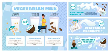 Illustration for Vegetarian Food Products Online Store or Shop Flat Vector Advertising Banner, Promo Posters Set. Man Drinking Cup of Coffee or Latte with Vegetarian Almond, Soybean and Coconut Milk Illustration - Royalty Free Image