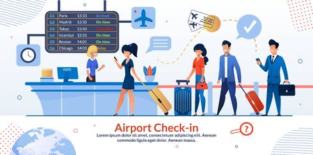 Ilustración de Airline Company Airport Check-in Reception and Tourists Queue Flat Poster. Passengers with Luggage and Aircraft Ticket at Flight Booking Counter Desk with Departures Board. Vector Cartoon Illustration - Imagen libre de derechos