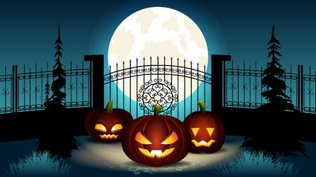Illustration pour Halloween Cartoon Illustration. Group of Pumpkin Lantern with Different Face Expression and Inner Glowing Light near Fance with Castle Gate. Spooky Full Blue Moon at Night. October Holiday. - image libre de droit