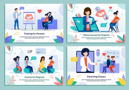 Parenting Classes and Lesson for Pregnant. Maternity Educative Training Courses Advertising Banner Set. Online Support for Future Parents. Woman Fitness during Pregnancy. Vector Cartoon Illustration