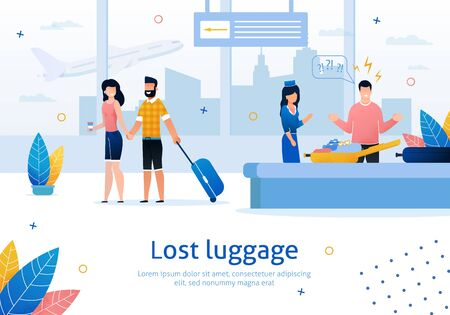 Illustration pour Airline Company Services, Searching and Returning Lost Luggage Trendy Flat Vector Advertising Banner, Poster Template. Man Frustrated and Angry Because of Missing Stuff in His Baggage Illustration - image libre de droit