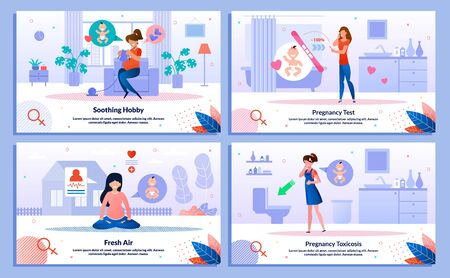 Illustration for Pregnancy Test Positive Result, Pregnant Woman Hobby, Outdoor Activity, Morning Sickness Trendy Flat Vector Banner, Poster Set. Woman Feeling Nausea, Meditating, Looking on Test, Knitting Illustration - Royalty Free Image