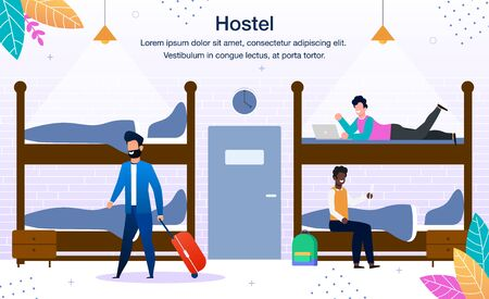 Illustration pour Stay in Hostel Dormitory Trendy Flat Vector Advertising Banner, Promo Poster Template. Multinational Traveling People, Male Tourists Arriving with Baggage and Resting on Hostel Bunk-Beds Illustration - image libre de droit