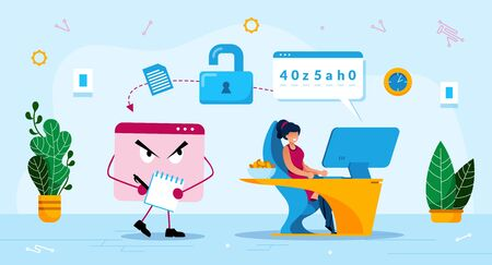 Illustration pour Online Phishing Trendy Flat Vector Concept. Malware Software, Trojan Stealing Password, Woman Using Computer, Losing Personal, Confidential Data or Information Because of Phishing Attack Illustration - image libre de droit
