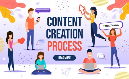Illustration pour People Engaged in Content Creation Workflow Process. Digital Marketing for Blogging and Social Media Network for Blog Online Channel Development, Followers and Subscribers Attraction. Content-plan - image libre de droit