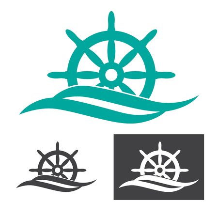 vector illustration of a rudder emerges from sea wave logo for maritime companies