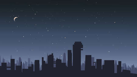Illustration for City under the starry sky. - Royalty Free Image