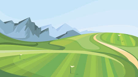 Illustration pour Golf course with mountains in the background. Illustration of outdoor sport. - image libre de droit