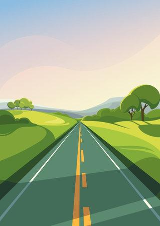 Illustration pour Summer road stretching into the horizon. Outdoor scene in vertical orientation. - image libre de droit