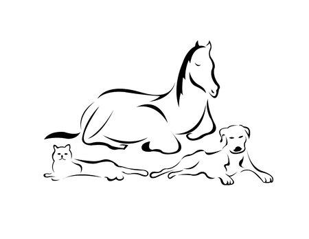 Illustration pour A horse, a cat and a dog - image libre de droit