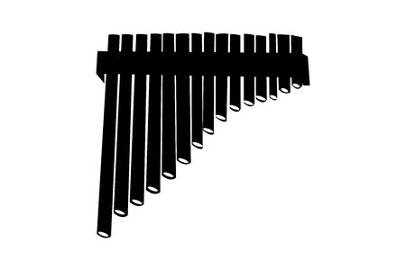 Peruvian wooden flute black silhouette on white background