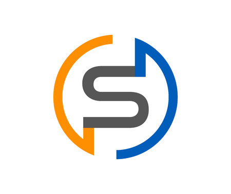 Modern orange, blue and grey S letter logo isolated on white background