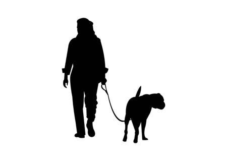 Illustration pour Woman walking a dog silhouette on white - image libre de droit
