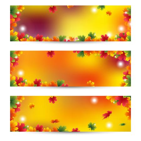 Illustration pour Beautiful Autumn banners with maple leaves background Golden autumn season - image libre de droit