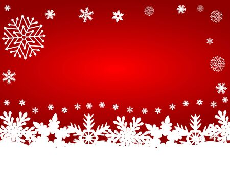 Christmas red background with snowflakes, vector illustration