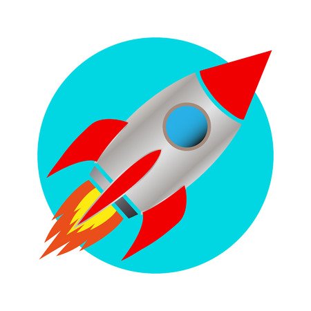 space rocket icon white background vector illustration: Royalty ...
