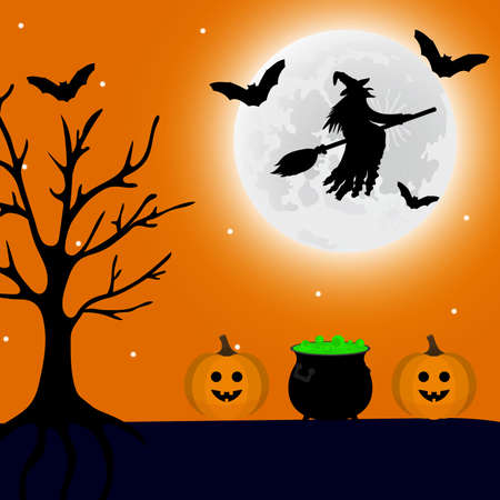 Illustration pour Witch flies at night on Halloween, and a potion and a pumpkin lantern are nearby. Vector illustration - image libre de droit