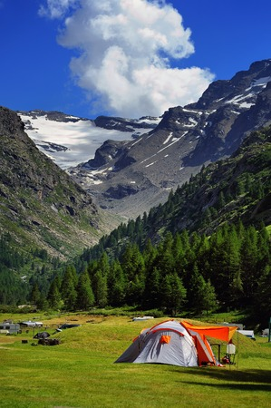 touristic camp on Valsavarenche valley in Valle Aosta, Italy