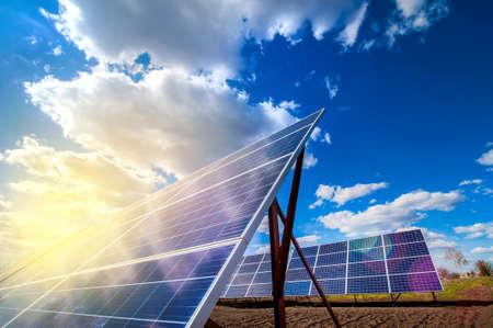 Photo pour Solar energy panel power system, and sunshine - image libre de droit
