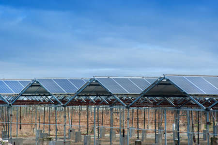 Photo pour constructions of old greenhouses re-equipped with solar panels, green energy - image libre de droit