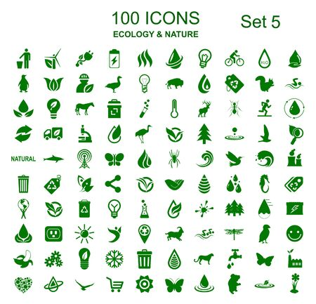 Illustration for Set 5 of 100 ecology icons - stock vector - Royalty Free Image
