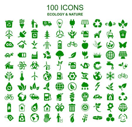 Illustration for Set of 100 ecology icons - stock vector - Royalty Free Image