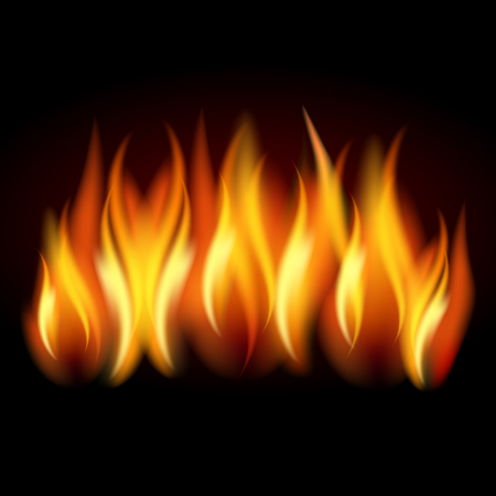 Illustration for Realistic flame, fire on black background - stock Vector illustration. - Royalty Free Image