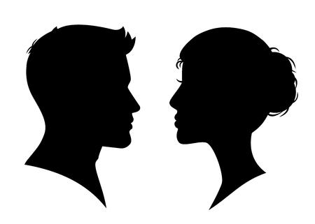 Illustration pour Man and woman silhouette face to face - stock vector - image libre de droit