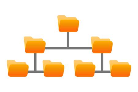 Folder structure, folders hierarchy - stock vector