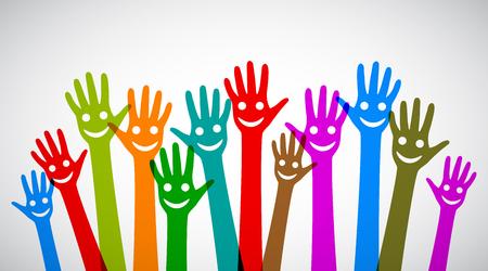 Illustration pour A group of smiling hands - stock vector - image libre de droit