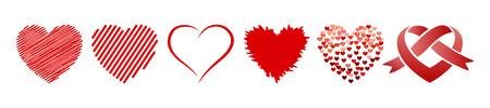 Set of six hearts - stock vector