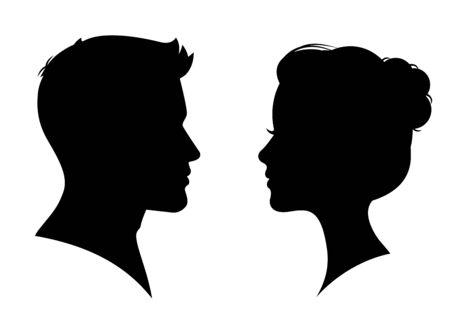 Illustration pour Man and woman silhouette face to face – vector - image libre de droit