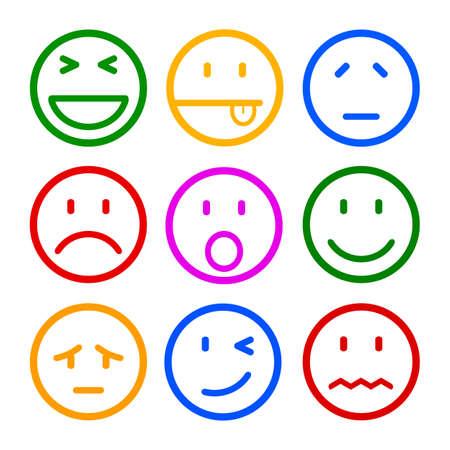 Illustration pour Nine smilies, set smiley emotion, by smilies, cartoon emoticons - vector - image libre de droit