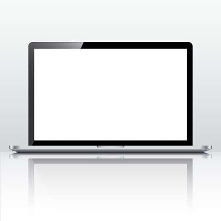 Illustration pour Black laptop with white monitor - vector - image libre de droit