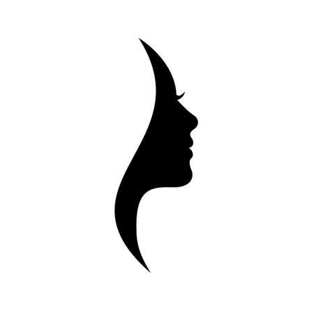 Illustration for Beautiful silhouette hair girl, salon logo - stock vector - Royalty Free Image