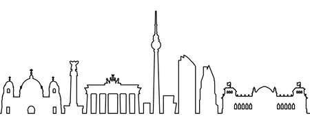 Berlin city silhouette one line - stock vector