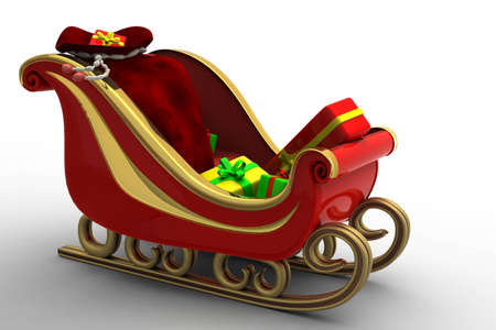 Beautiful red Santa's sleigh carrying a lot of Christmas presents. A full bag and carry the sleigh full of joy to children
