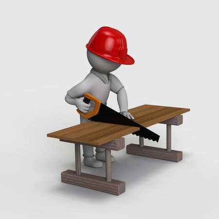 The guy wears a red helmet and saw cut the plank on a wooden table