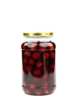 Compote with cherries in jar