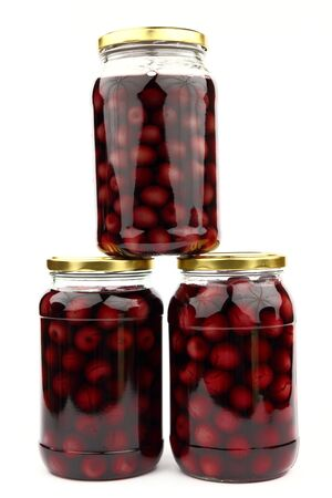 Compote with cherries in jars