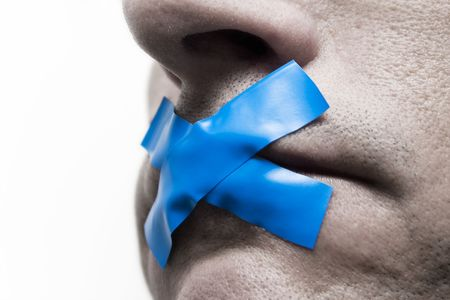 Censored man with tape on the mouth